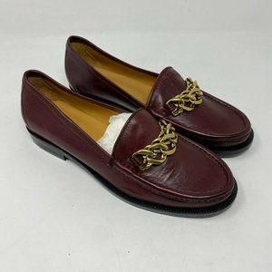 Sandro leather loafers with gold chain 37 US 6-6.5